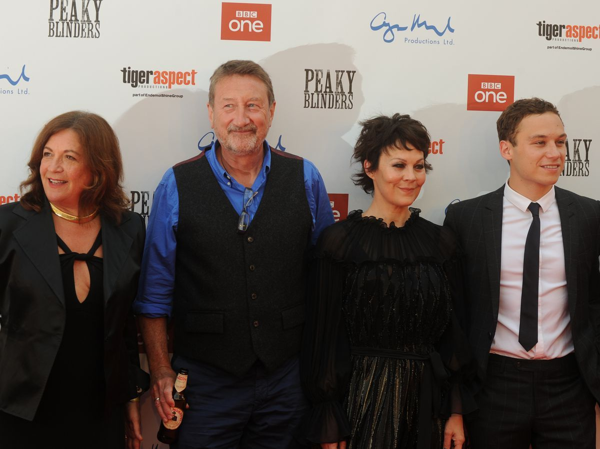 Helen McCrory, pictured centre right, at the Peaky Blinders season five premiere in Birmingham alongside Caryn Mandabach, Steven Knight and Finn Cole