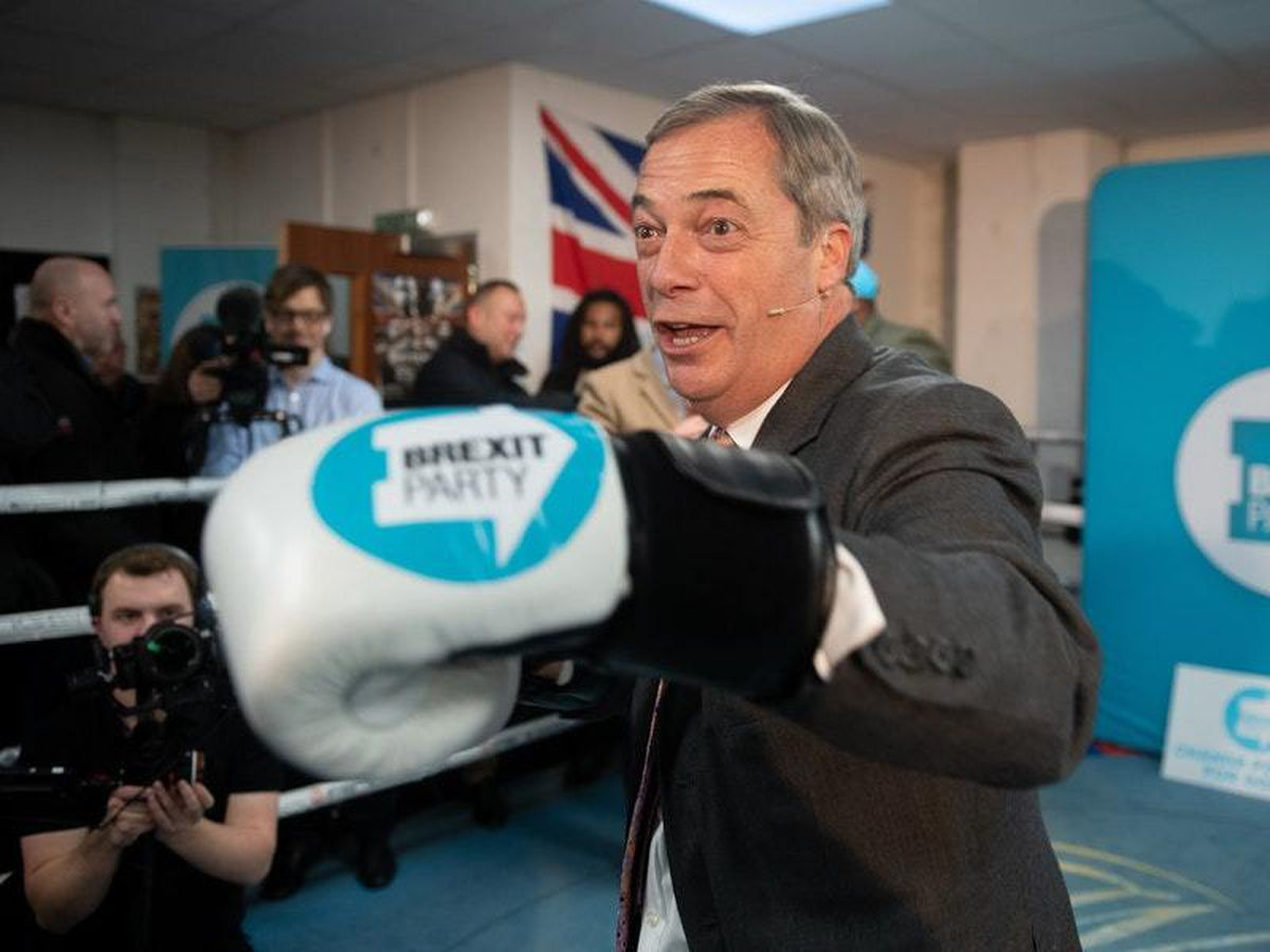 Brexit Party leader Nigel Farage at the Gator ABC Boxing Club in Hainault, Ilford, Essex