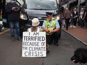 Lone protester in Bridgnorth. Pic: PhilB