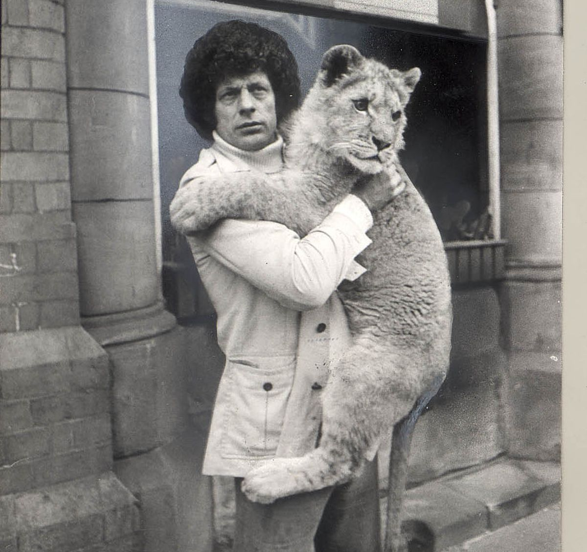 Lew Foley brought his lion cub to Sandwell Council's offices