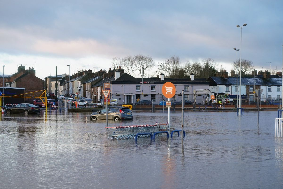 The flooded car park in Stafford town centre. Photo: @z70photo