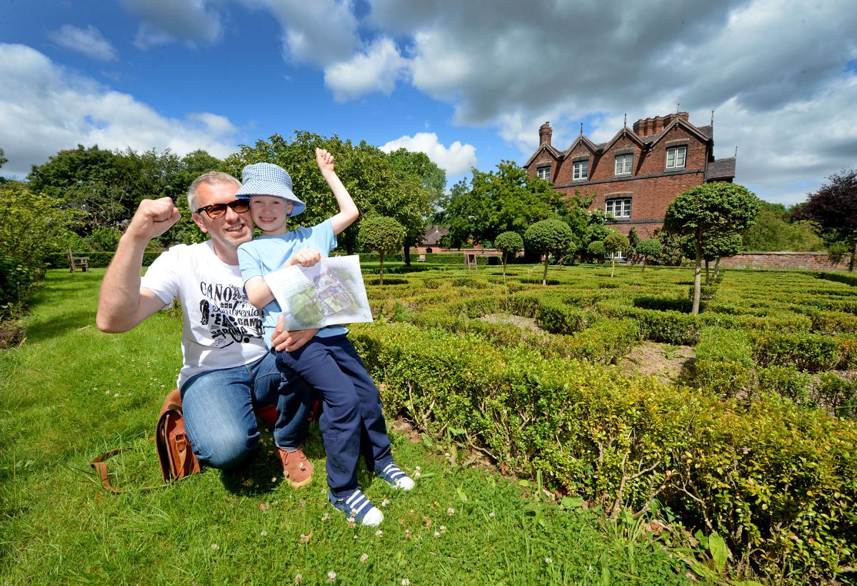 Moseley Old Hall, Wolverhampton, reopens the grounds to the public after lockdown. Mark Somerfield with son Samuel, aged 7 from Bloxwich