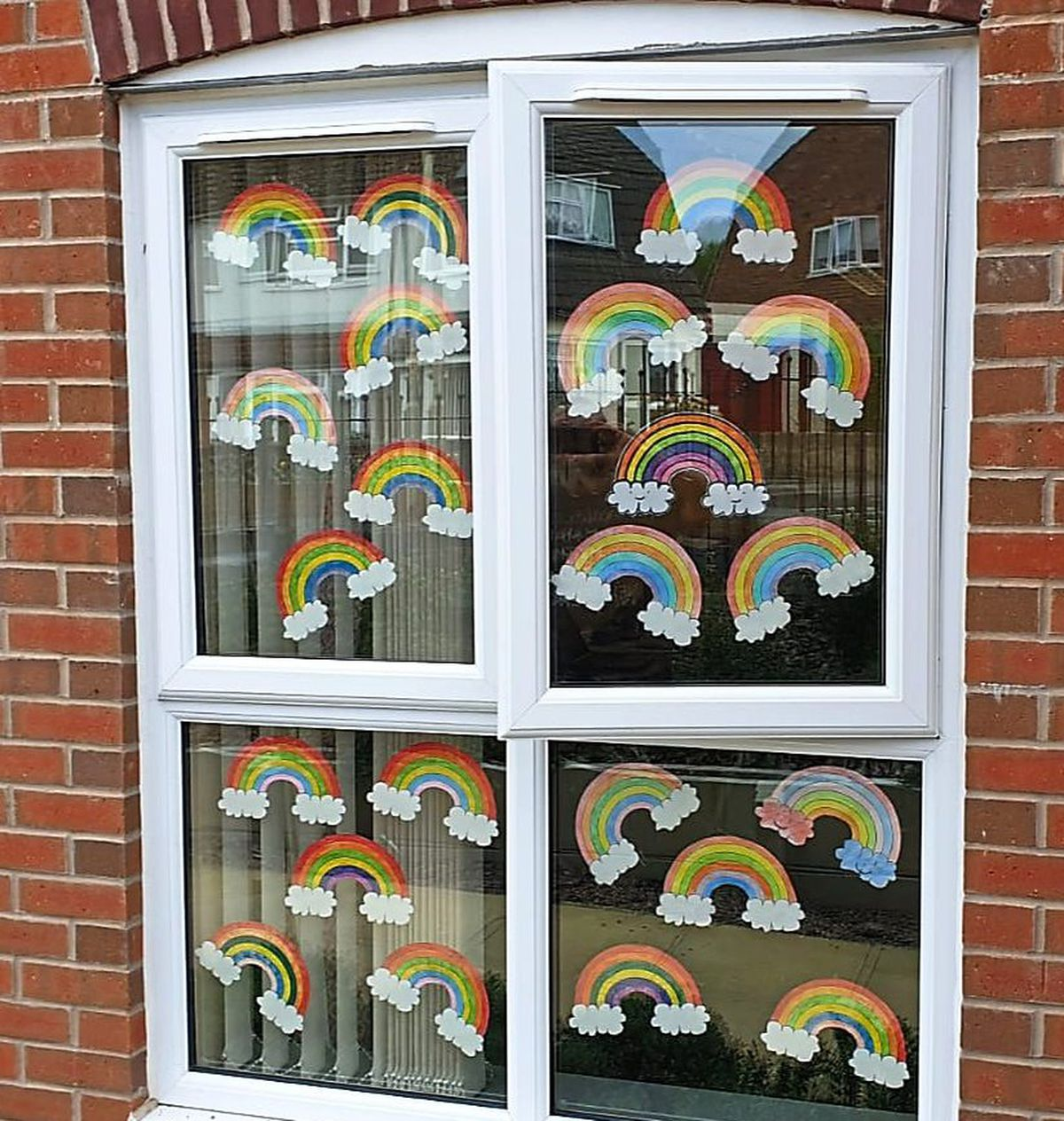 Rainbows painted on the windows at Dimensions