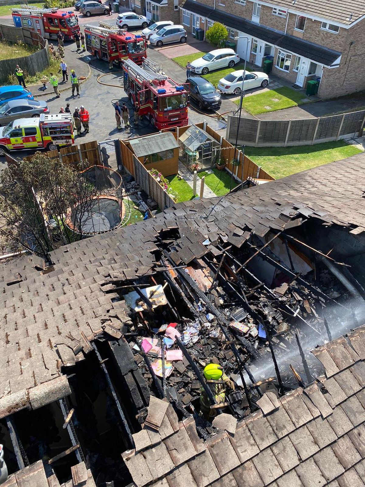 An aerial view of the damage. Photo: West Midlands Fire Service