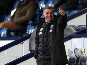 "West Bromwich Albion manager Sam Allardyce gives a thumbs up during the Premier League match at The Hawthorns, West Bromwich. Picture date: Monday April 12, 2021. PA Photo. See PA story SOCCER West Brom. Photo credit should read: Michael Steele/PA Wire...RESTRICTIONS: EDITORIAL USE ONLY No use with unauthorised audio, video, data, fixture lists, club/league logos or ""live"" services. Online in-match use limited to 120 images, no video emulation. No use in betting, games or single club/league/player publications.."