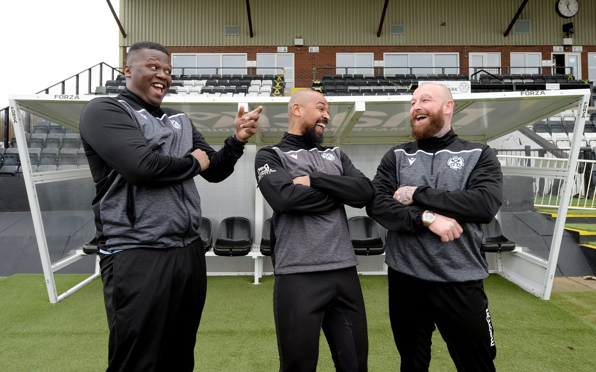 Manager Keenan Meakin-Richards (centre) with assistant Graham Deakin (right) and head coach Jemiah Richards