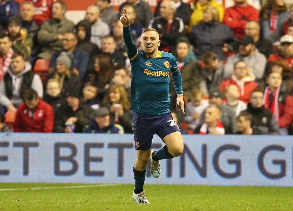 Hull City's Jarrod Bowen celebrates
