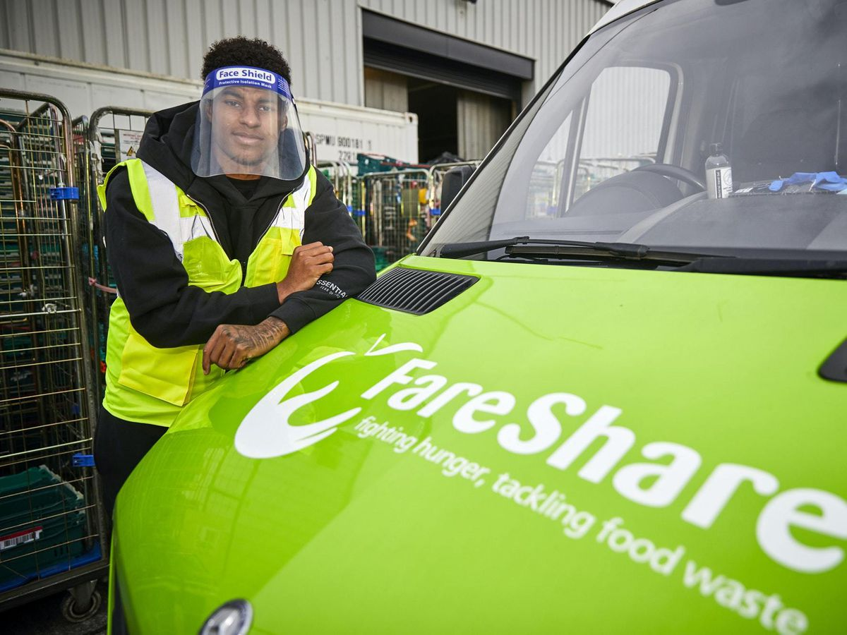 Marcus Rashford on a visit to FareShare in Greater Manchester