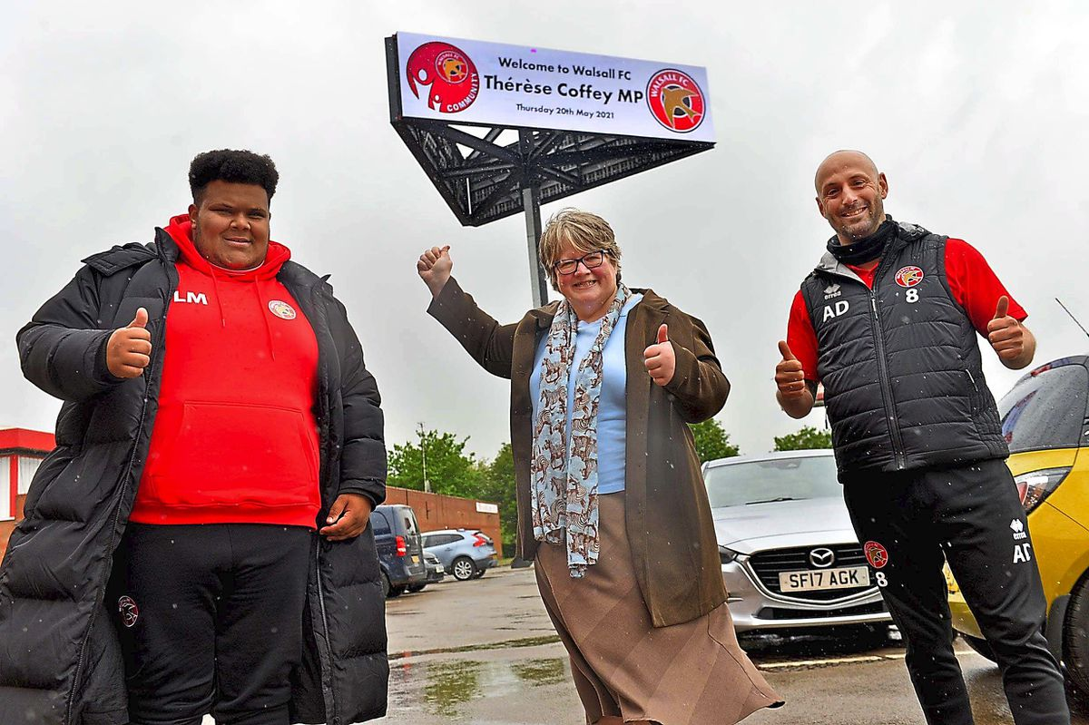 WALSALL COPYRIGHT EXPRESS AND STAR STEVE LEATH 20/05/2021..Walsall FC and MP Therese Coffey  (Secretary of State for Work and Pensions), was visiting to speak to people on the Kickstart scheme. With L-R: Lewis McBrean 21 from Walsall,   WFC Community Director: Adam Davey,.