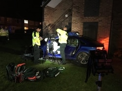 Flats evacuated after car crash in Staffordshire