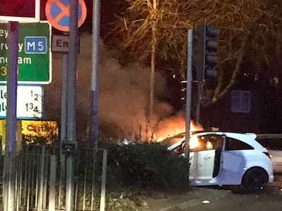 Two injured as cars go up in flames after Birmingham New Road crash