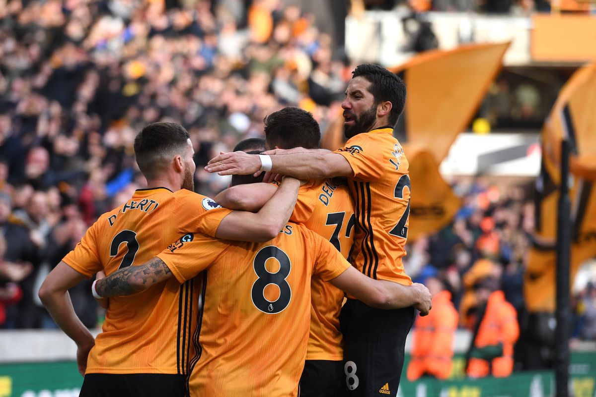 Ruben Neves of Wolverhampton Wanderers celebrates after scoring a goal to make it 1-0 with Joao Moutinho of Wolverhampton Wanderers. (AMA/Sam Bagnall)