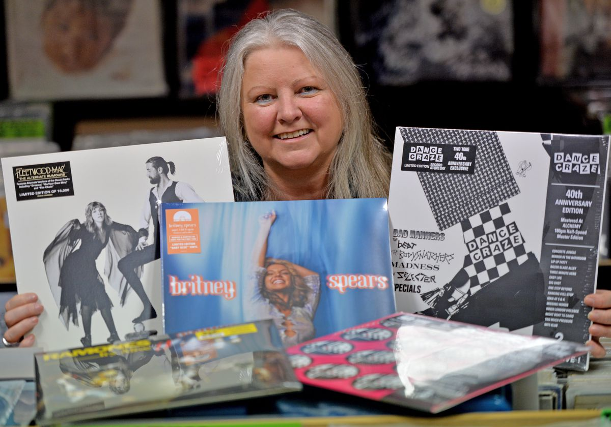 Claire Howell, from Vinyl & Vintage, with a fresh delivery of records for the event