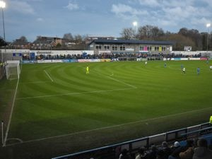 TELFORD COPYRIGHT MIKE SHERIDAN A general view of the New Bucks Head during the Conference North fixture between AFC Telford United and Chester FC at New Bucks Head on Saturday, December 26, 2020...Picture credit: Mike Sheridan/Ultrapress..MS2021-051.
