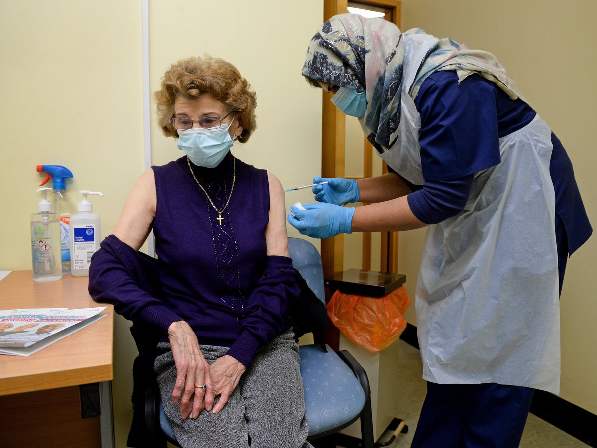 Joan Dudley was the first person to be vaccinated at a GP surgery in Wolverhampton