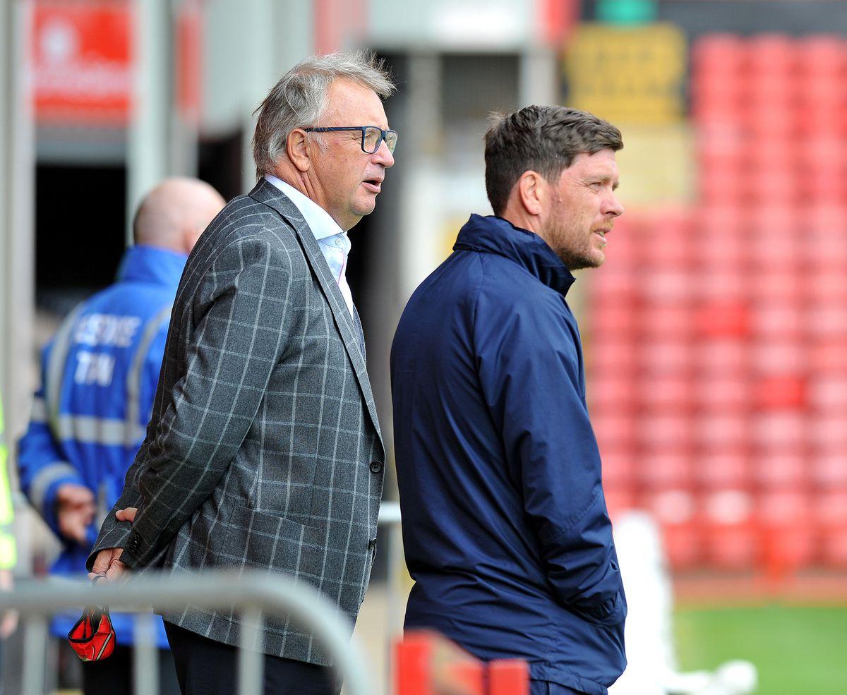 Walsall manager Darrell Clarke and chairman Leigh Pomlett