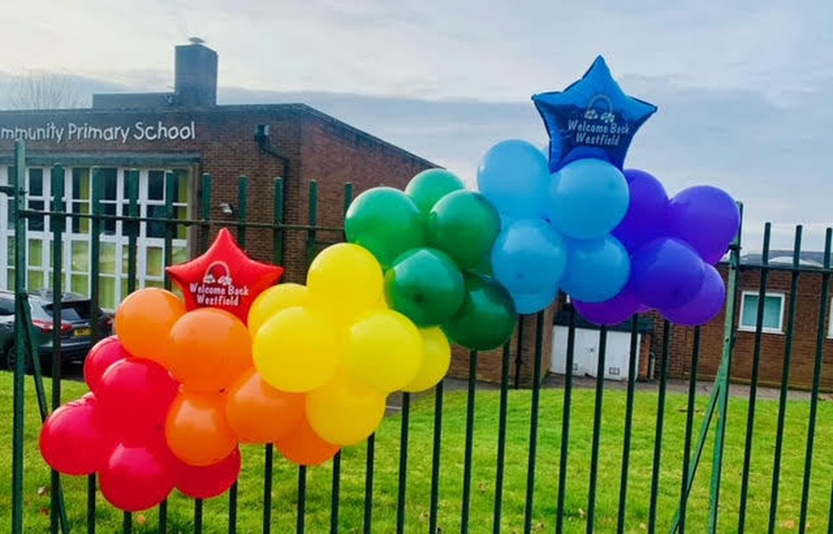Bright balloons outside the school