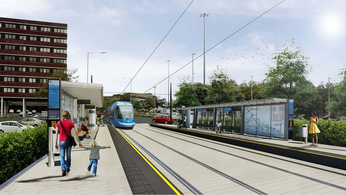 An artist's impression of the Metro extension in Flood Street, Dudley. Picture: Transport for West Midlands