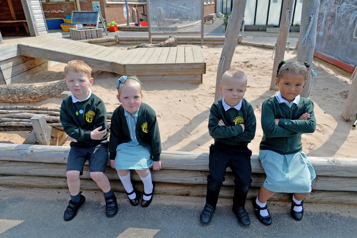 Leo, Indie, Chase, Harleigh and the rest of the children at Warstones Primary School have been unable to play in the sand because of the vandals