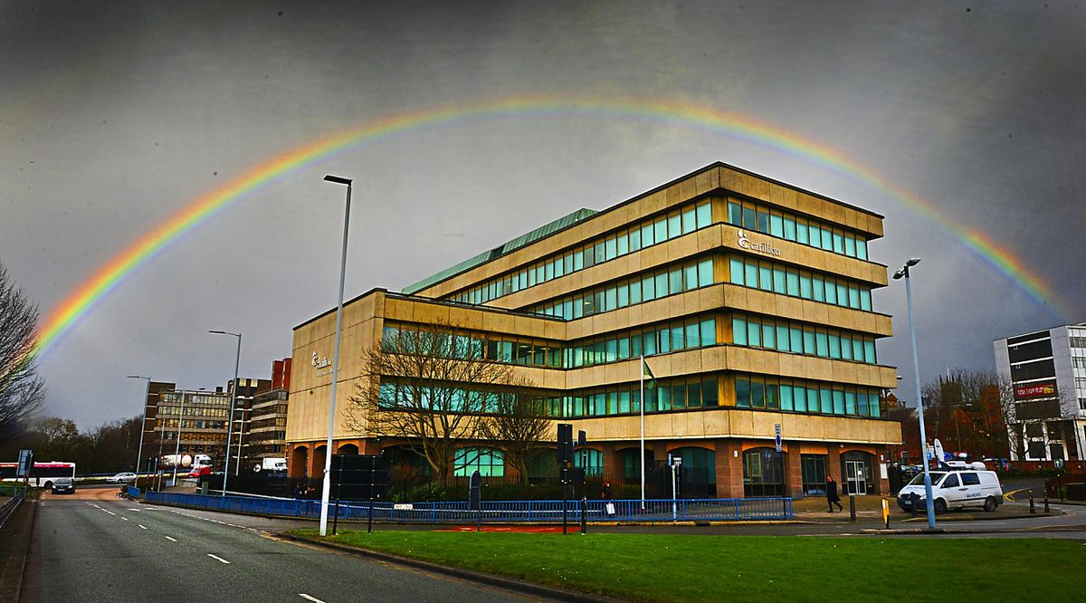 A perfect rainbow forms over Carillion's former home in Salop Street, Wolverhampton, after it went into liquidation in January 2018