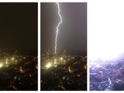 Philippines lightning strike captured in dramatic mobile phone pictures