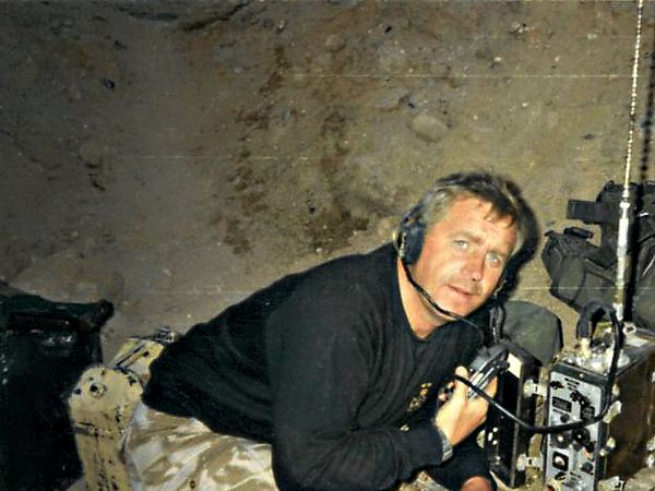 Sgt-Major WO2 Keith Hodgson from Rugeley with enemy equipment seized during the liberation of Kuwait. (for Mark Andrews)