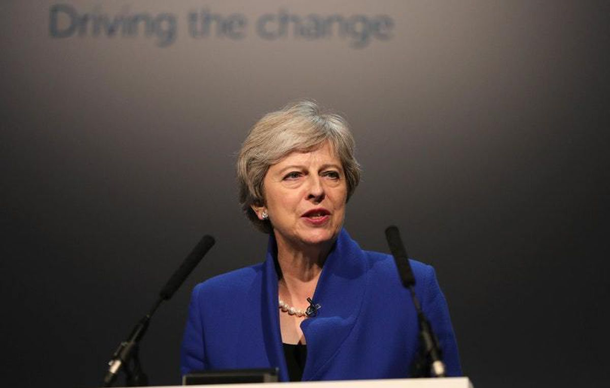 Theresa May speaking to the world's first zero emission vehicle summit at Birmingham's International Convention Centre