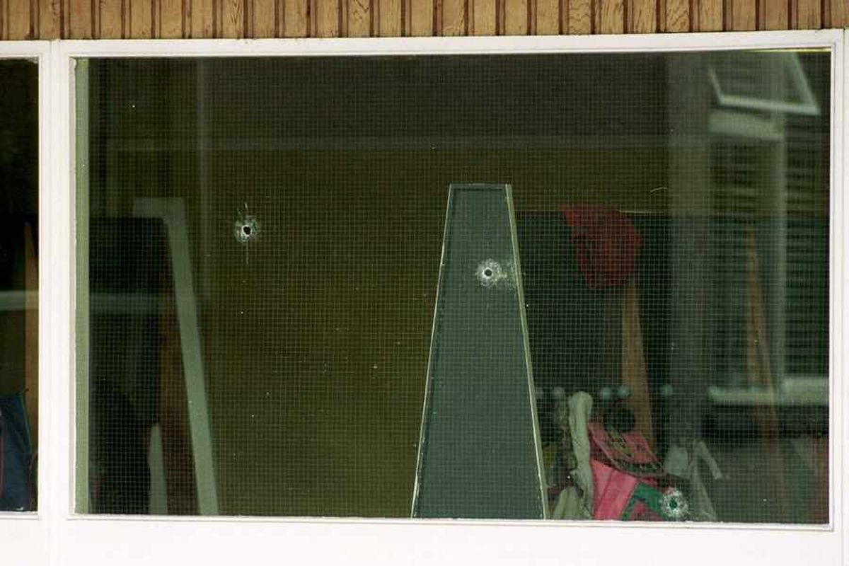 Bullet hols in the windows of Dunblane Primary School