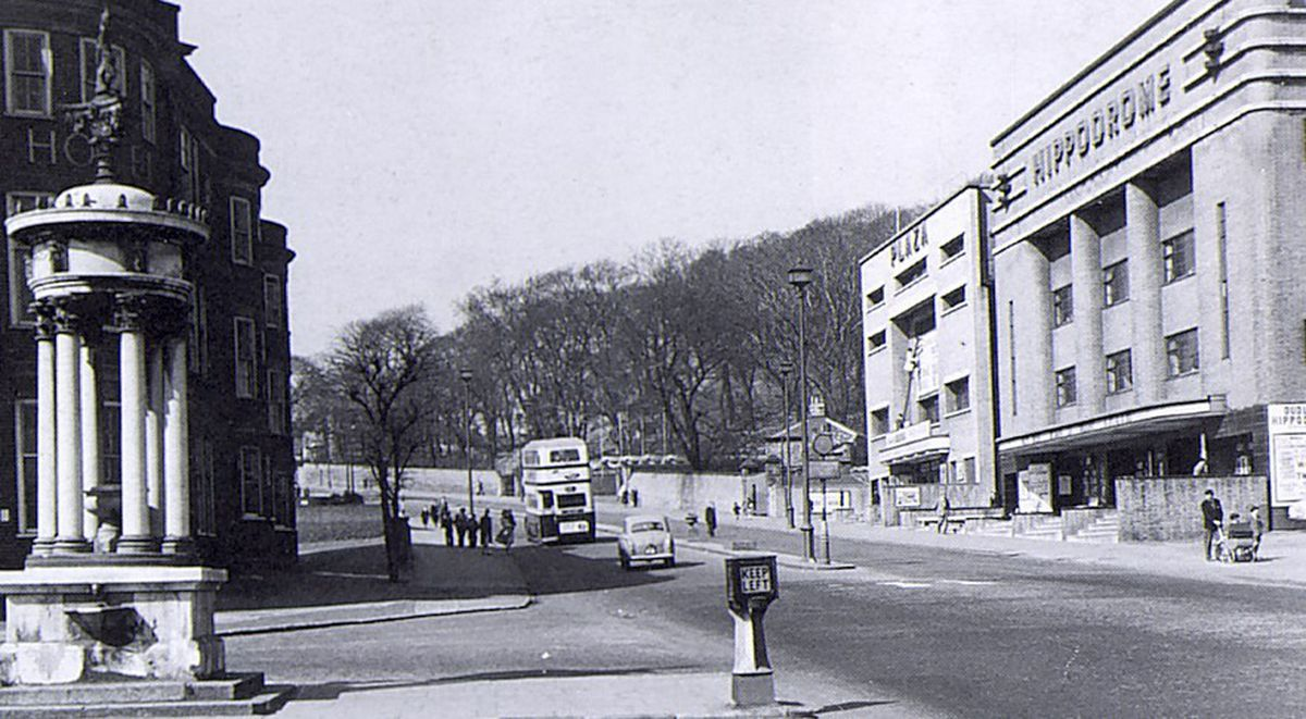 The hotel, pictured on the left opposite the Hippodrome, in 1958