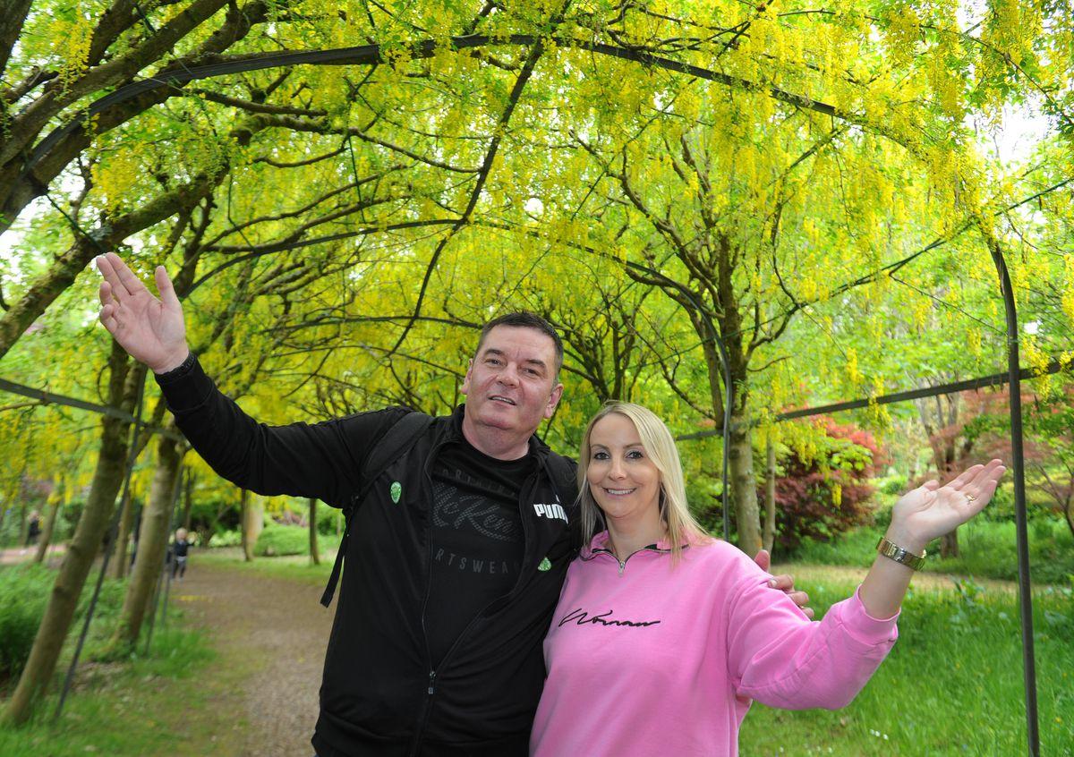 Jason and Nicky Hulse enjoy the warmer weather at Bodenham Arboretum, Kidderminster
