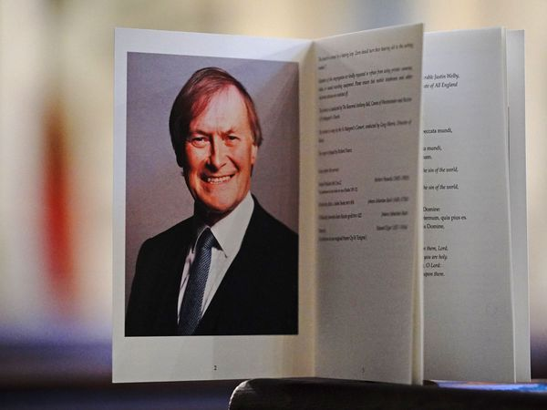 The order of service at a service to honour Sir David Amess at the Church of St Margaret, in the grounds of Westminster Abbey