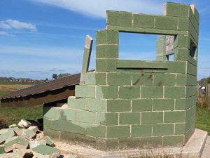 The damaged bird hide at Doxey Marshes, in Stafford. Photo: Staffordshire Wildlife Trust