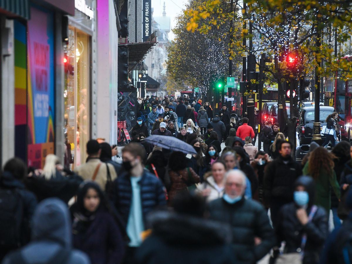 Shoppers on Oxford Street in London (Kirsty O'Connor/PA)