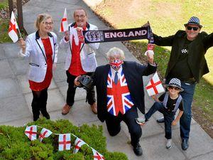 Members of England Together. Paul Caseman, Steve Heathcock and seven-year-old Tayla Jones, along with Barbara Ward and Darren Sandland