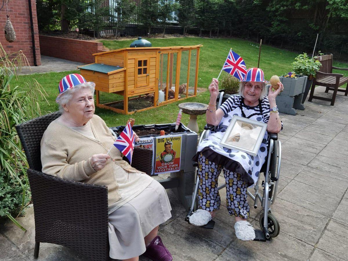 Gladys and Gertrude celebrating at Wulfrun Rose Nursing Home in Wolverhampton