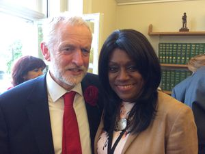 Wolverhampton South West MP Eleanor Smith with Jeremy Corbyn in Westminster as she is sworn in as an MP