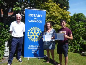 President elect Harold Bould presented Hanna Bodley and Martyn King the awards