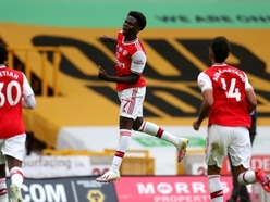 Bukayo Saka celebrates new deal with first league goal as Arsenal see off Wolves