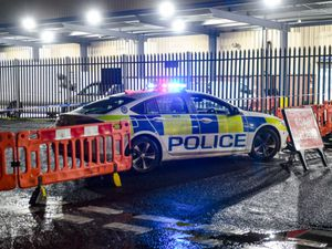 Police at the scene after a suspected unexploded device was found in Smethwick. Photo: SnapperSK