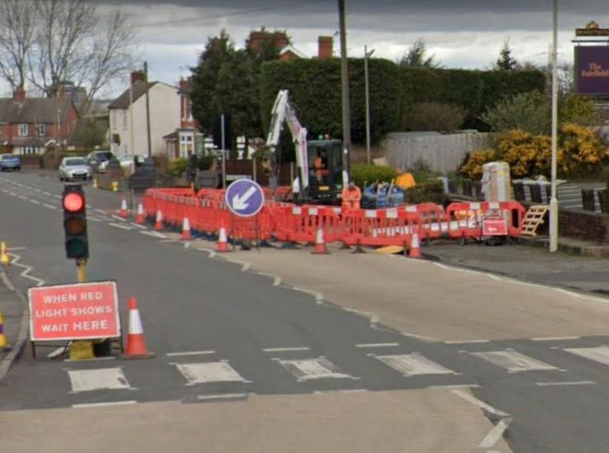 A Google Street View image showing work being carried out in April 2021 at the location of a new 5G mast in Farifield Road, Halesowen.