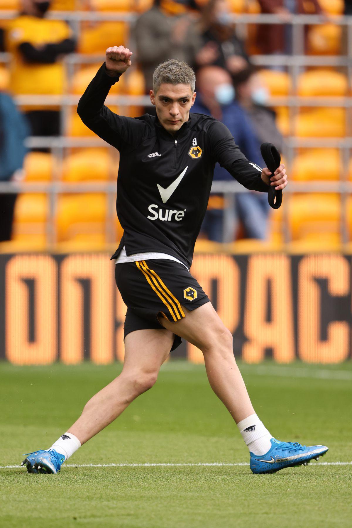 Raul Jimenez of Wolverhampton Wanderers warms up.