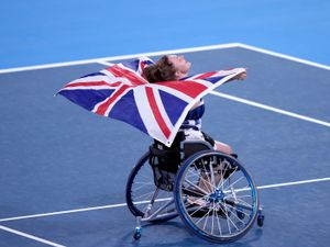 Great Britain's Jordanne Whiley reacts to winning the Women's singles bronze medal match  at the Ariake Tennis Park during day ten of the Tokyo 2020 Paralympic Games in Japan. Picture date: Friday September 3, 2021. PA Photo. See PA story PARALYMPICS Tennis. Photo credit should read: Tim Goode/PA Wire.    RESTRICTIONS: Use subject to restrictions. Editorial use  only, no commercial use without prior consent from rights holder.