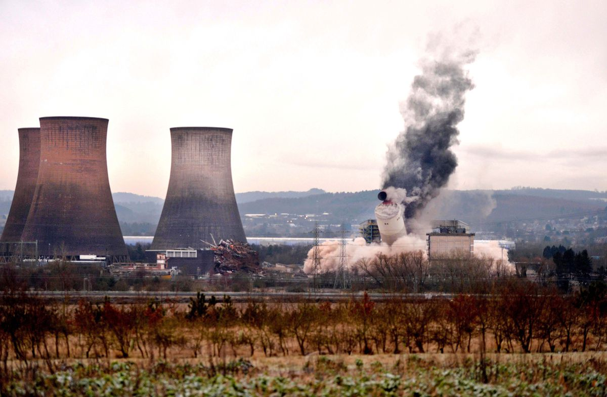 The demolition of the chimney at Rugeley Power Station