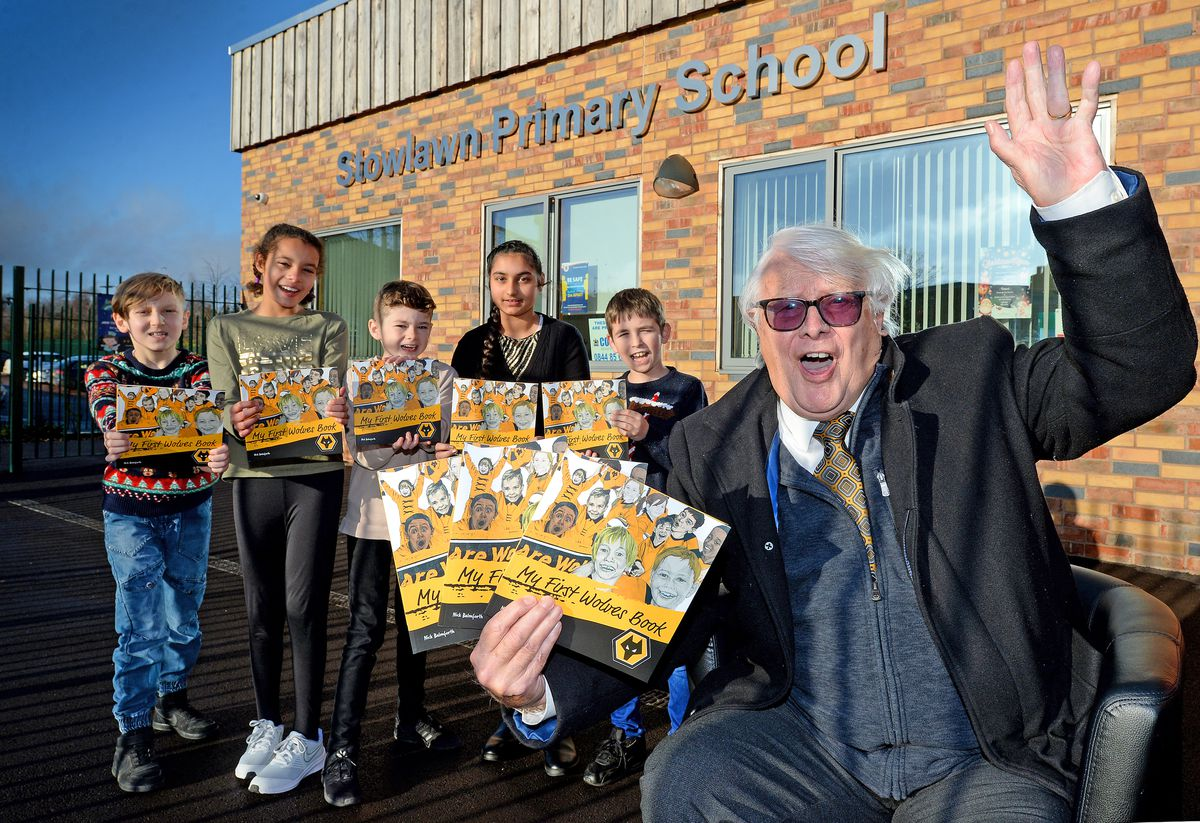 Nick Balmforth donated hundreds of his Wolves books to pupils at Stowlawn Primary School