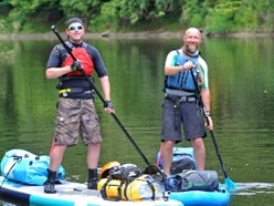 Paddle board pals in 100 mile River Severn charity