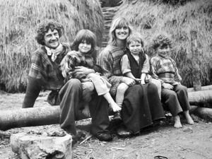 Living in the past – Peter and Lindsay Ainsworth with their children from left Peter (junior), Robin and Nicholas. At the time Peter was 31, Lindsay was 30, Peter Jnr was seven, Robin three, and Nicholas five.