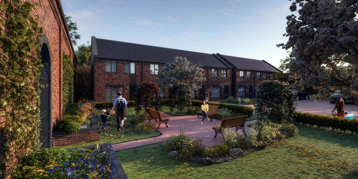 An artist's impression of how a new homes development on the former Springfield Brewery maintenance yard will look. Picture: BM3 Architecture.
