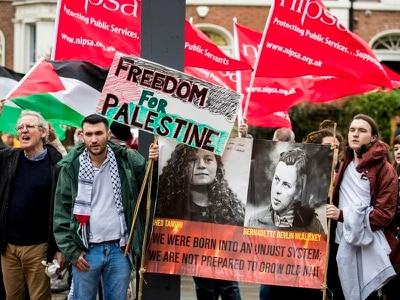 Pro-Palestine protesters confront UK's Israeli ambassador in Belfast