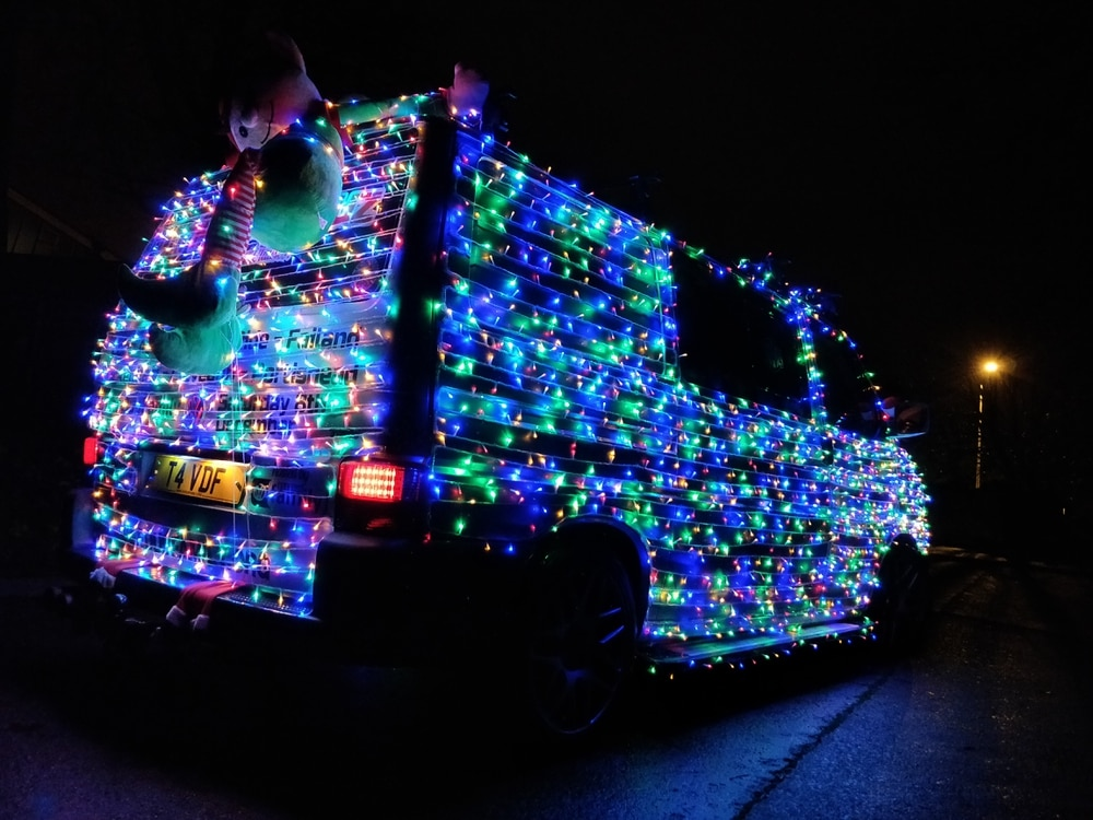 Steve Wright's Christmas light-covered van. Picture Dubs Collective