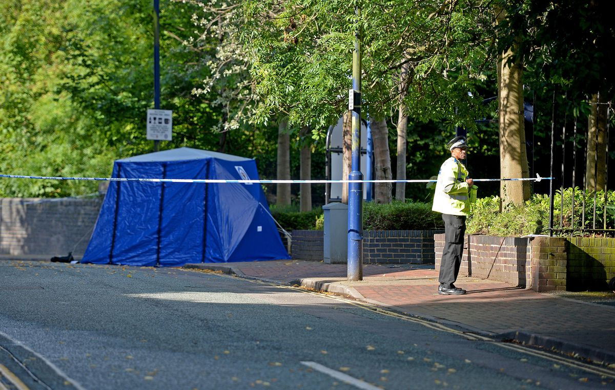 A police tent at the scene on Walsall Street